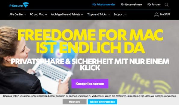 Da Digitale Nomaden häufig im offenen WLAN arbeiten, ist eine gute VPN unersetzlich. (Screenshot: f-secure.com)