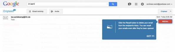 """Über den Bereich """"E-Mail Activity"""" können verschickte Nachrichten nachträglich zerstört werden. (Screenshot: t3n.de)"""