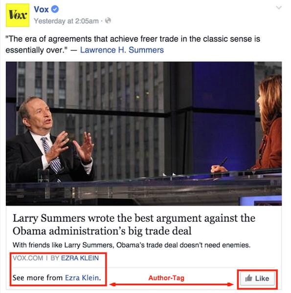 Facebook führt den Author-Tag ein: Der Autor Ezra Klein von Vox Media wird im Posting verlinkt. (Screenshot: Facebook)