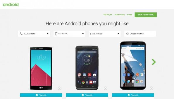 Google will euch bei der Auswahl eines passenden Android-Smartphones helfen. (Screenshot: Android.com)