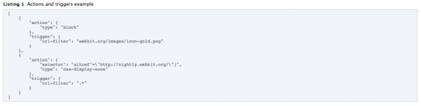 Ad-Blocker: Ein Beispiel für einen Inhaltsblocker für Safari unter iOS 9. (Screenshot: developer.apple.com)