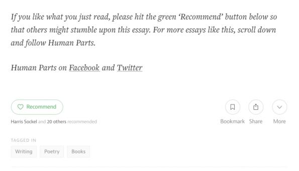 Ein beliebter Growth-Hack für Medium ist, am Ende eines Artikels ein CTA einzufügen. (Screenshot: medium.com)