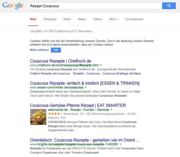 Und, wo klickt ihr drauf? Auf Platz 1 – oder doch lieber auf's Foto? (Screenshot: google.de)