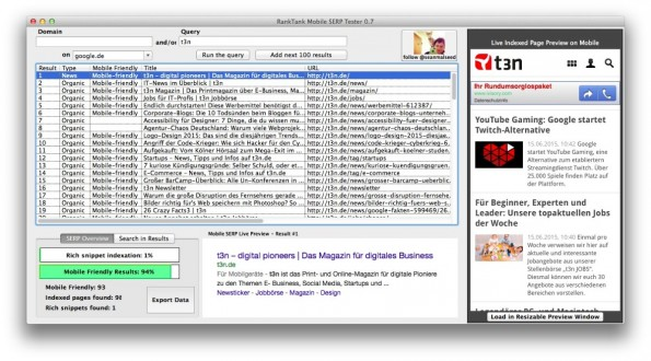 Ranktank erhebt mobile Suchergebnisse für eingegebene Domains oder Keywords. (Screenshot: t3n/ Ranktank)
