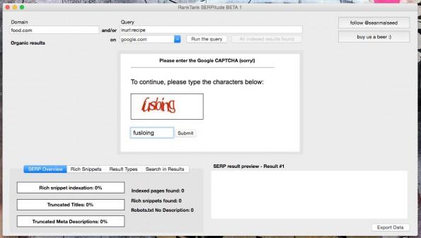 Aufgrund der Captcha-Abfragen durch Google verfügt das SEO-Tool über einen nativen Browser. (Screenshot: Ranktank)