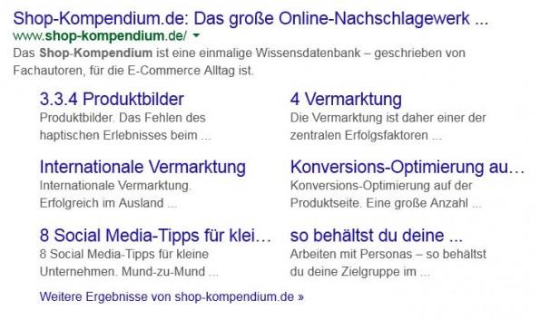 """SERP-Ausschnitt einer Suche nach dem Begriff """"Shop-Kompendium"""": Mit Titel in Blau, URL in Grün und zweizeiliger Description. Und – in diesem Fall – 6 von Google ausgewählten Sitelinks. (Screenshot: google.de)"""