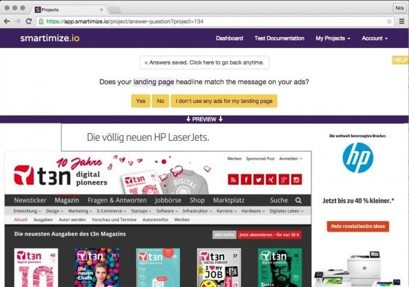 Smartimize stellt Fragen zur entsprechenden Landingpage. (Screenshot: Smartimize.io)