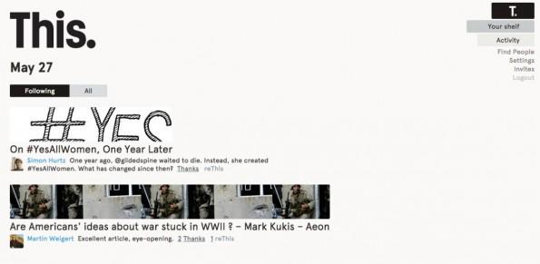 Der This.cm-Newsfeed zeigt jeden Tag nur eine publizistische Perle an, die Nutzer für lesenswert halten. (Screenshot: This.cm)