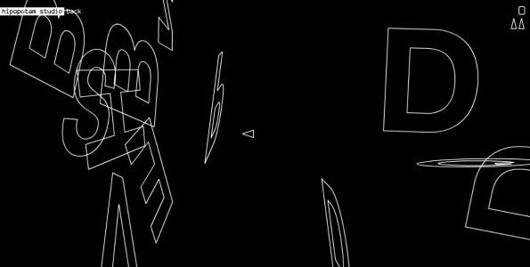 Typoroids: Das kleine Dreieck ist euer Raumschiff – all die Buchstaben und Zeichen sind eure Gegner. (Screenshot: hipopotamstudio.pl)