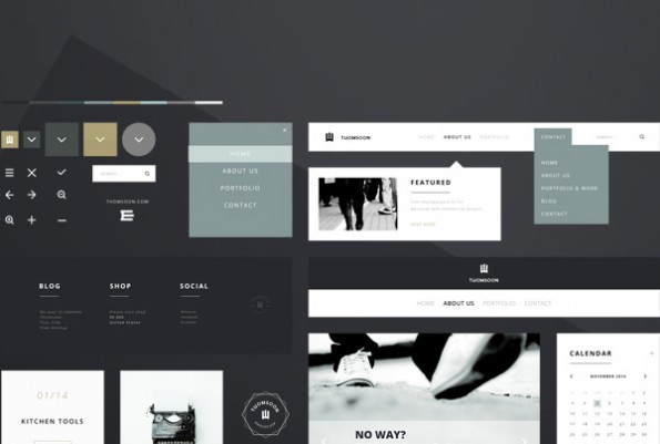 """Clean white"" – UI-Kit von Tomasz Mazurczak. (Screenshot: Behance)"