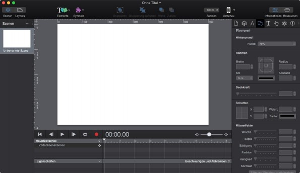 Ein neues Projekt mit Hype 3 Pro. (Screenshot: Hype 3 Pro)