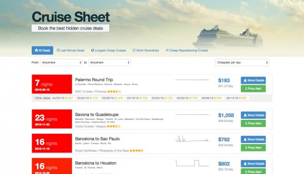 CruiseSheet: Für alle, die lieber auf dem offenen Meer arbeiten wollen. (Screenshot: CruiseSheet)