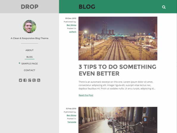 Responsive WordPress-Theme: Drop. (Screenshot: Drop)