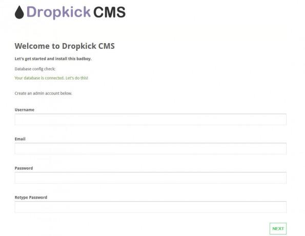 So sollte die Installations-Seite des Dropkick CMS nach der Vorbereitung aussehen. (Screenshot: Eigene Dropkick-CMS-Installation)