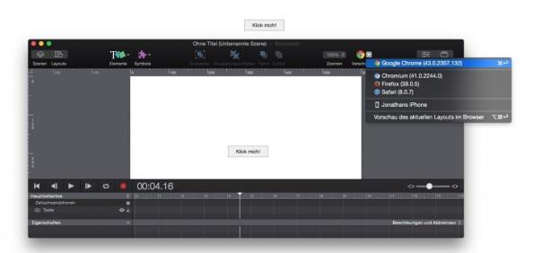 Die Vorschau von einem Hype 3 Projekt direkt im Browser. (Screenshot: Hype 3)