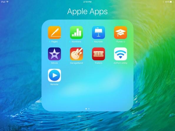 iOS 9 Beta 3 bringt eine optimierte App-Icon-Anordnung auf das iPad. (Screenshot: MacRumors)