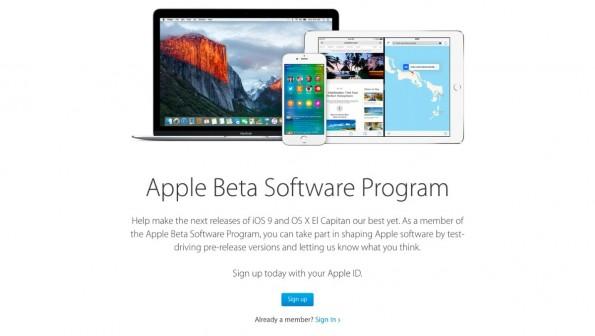 Ihr müsst euch kostenfrei bei Apples Beta-Programm anmelden, wenn ihr iOS 9 und OS X El Capitan schon jetzt testen wollt. (Screenshot: Apple.com)