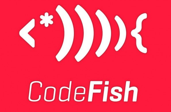 Ein Fisch aus Code. So einfach kann die Verbindung von Logo und Unternehmensnamen sein. (Logo: CodeFishStudios)