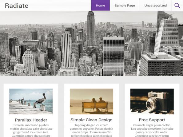 Mit Radiate holt ihr euch ein modernes WordPress-Theme im klaren Look ins Haus. (Screenshot: Radiate)
