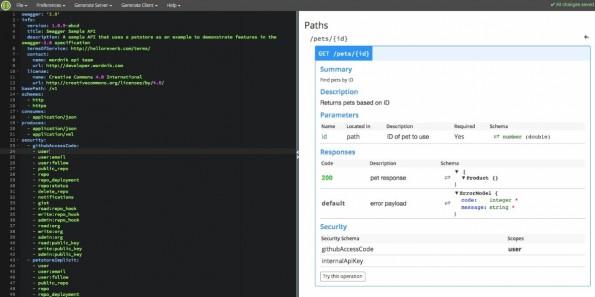 Der Editor von Swagger, um die benötigten JSON-Dateien zu erstellen. (Screenshot: Swagger Editor)