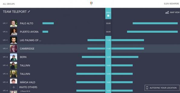 Teleport Sundial: Über die Zeitzonen-Ansicht findet ihr schnell eine passene Uhrzeit für euer Team-Meeting. (Screenshot: Teleport Sundial)