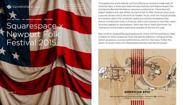 Gelungene Unternehmensblogs: Squarespace. (Grafik: Squarespace.)