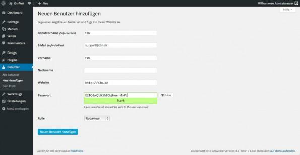 Die neuen Sicherheits-Features bringen mit, dass WordPress 4.3 jetzt auch sichere Passwörter vorschlägt. (Screenshot: WordPress)