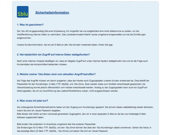 Datendiebstahl: Der Hoster 1blue wird erpresst. (Screenshot: 1blu.de)