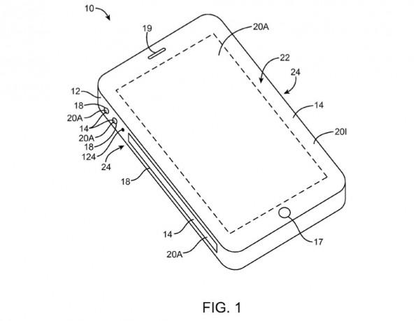 iPhone-Skizze aus Apples Patentantrag. (Bild: Apple/USPTO)