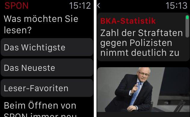Auch Spiegel Online liefert Nachrichten auf die Apple Watch