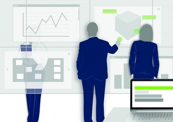 Mediale Präsentationswände fördern Austausch und Interaktion.
