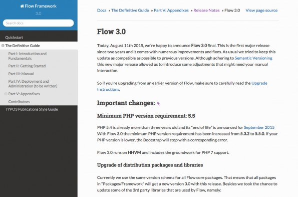 Das PHP-Framework Flow ist in Version 3.0 erschienen. (Screenshot: flowframework.readthedocs.org)