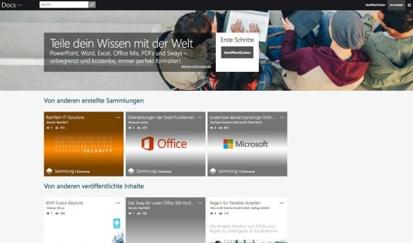Ein bisschen wie SlideShare: So sieht Docs.com, Microsofts neue Sharing-Plattform für Dokumente aus. (Screenshot: t3n)