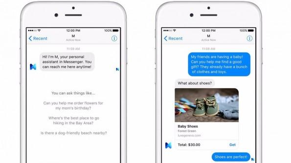 """""""M"""" nimmt Anfragen im Messenger entgegen. Ob diese von Mensch oder Maschine erledigt wird, sieht der User nicht. (Bild: Messenger)"""