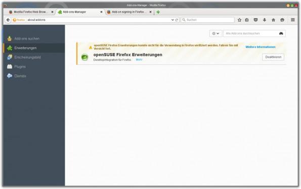 Bei nicht signierten Add-ons zeigt Firefox ab Version 40 eine Warnung im Add-on-Manager. (Screenshot: Firefox)