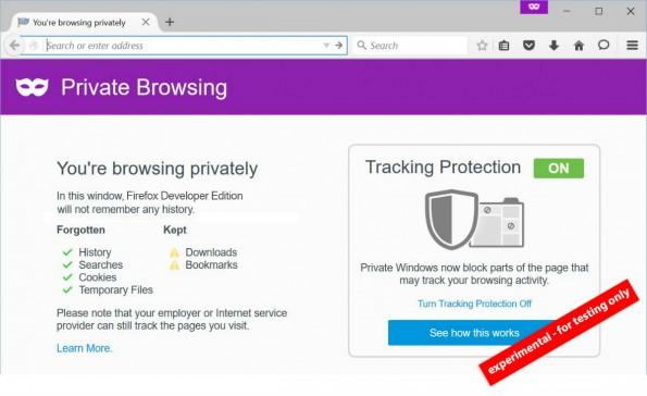 Firefox: Der (noch) experimentelle Privat-Modus soll surfen sicherer machen. (Screenshot: Mozilla)