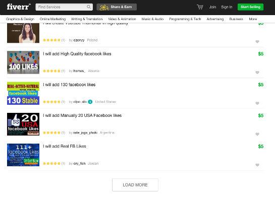 Auf fiverr.com bieten unzählige User Likes, Follows & Co. gegen Geld an.