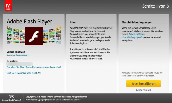 Sicherheitsupdate für den Flash-Player stopft 35 Lücken. (Screenshot: Adobe)