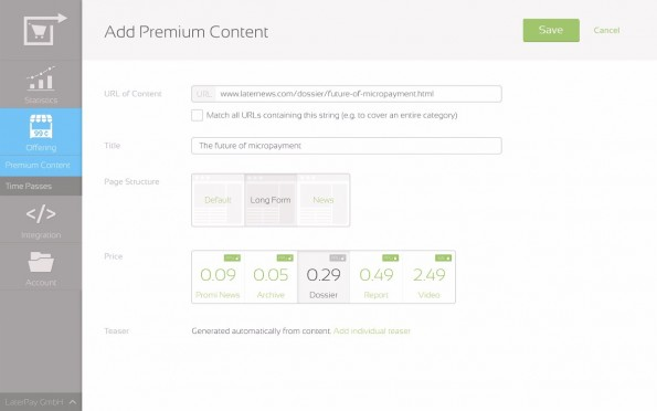 LaterPay Connector soll es noch einfacher machen, einzelne Inhalte zu verkaufen. (Screenshot: LaterPay)