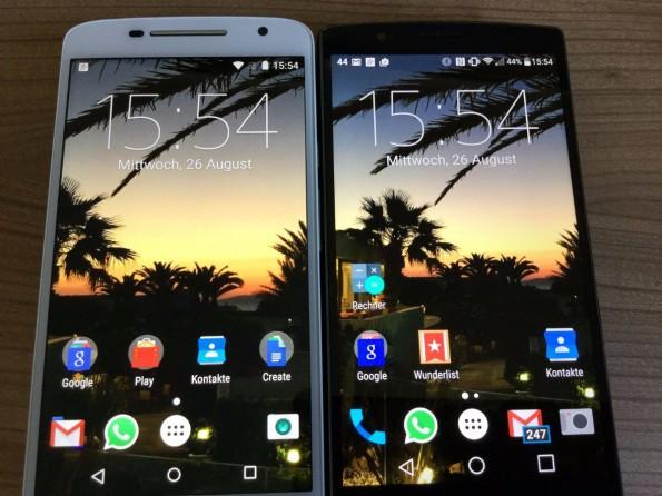 Das Moto X Play und das LG G4 sind größenmäßig nahezu identisch (Foto: Autor)