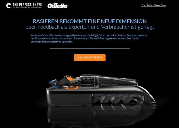 Ein Schritt weiter: Gillette entwickelt Bestellbuttons als Teil der Produktverpackung. (Screenshot: perfect-shave.de)