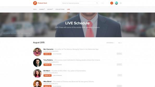 Auf Product Hunt Live stehen euch Startup-Persönlichkeiten Rede und Antwort. (Screenshot: Product Hunt)