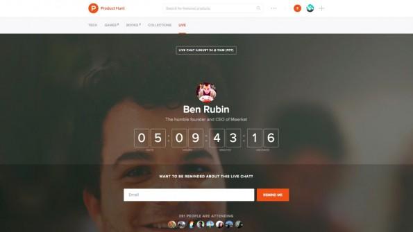 Product Hunt Live: Viele bekannte Personen aus der Startup-Szene nehmen an den Live-Chats teil.  (Screenshot: Product Hunt)