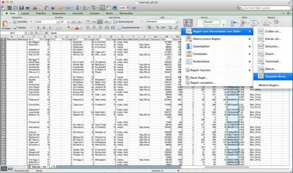 Tipp: Bei großen Tabellen kannst du unwichtige Spalten ausblenden und Filter auf bestimmte Inhalte legen, die dich nicht interessieren.(Screenshot: Screaming Frog/ t3n.de)