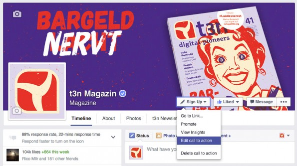 """Der Spenden-Button kann im """"Sign-up""""-Bereich auf der Facebook-Seite eingerichtet werden. (Screenshot: t3n.de)"""