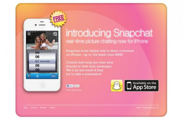 Startuptimelines.org: So sah die erste Website von Snapchat aus.