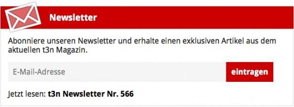 Eine gute Möglichkeit für den eigenen Newsletter: Eine auffällige Box, wie wir sie bei t3n.de unter Artikeln haben. (Screenshot: t3n)