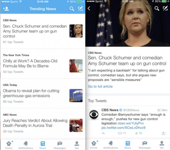 So sieht der gesondert ausgewiesene Twitter-Tab für Nachrichten aus. (Screenshot: Buzzfeed)