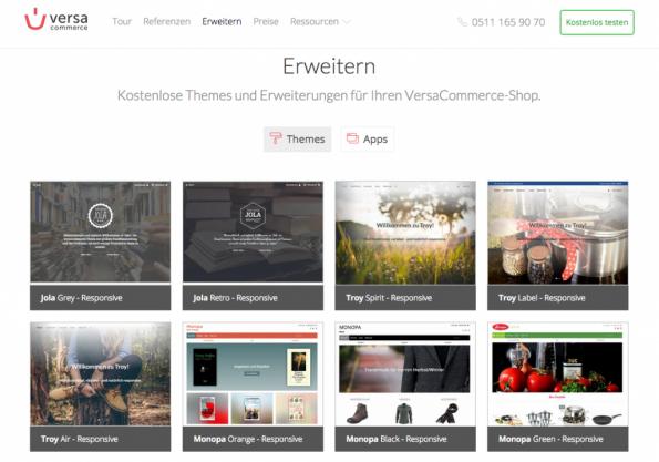 Hier werden alle Standards und Pflichten erfüllt: Bei VersaCommerce gibt es bereits vorinstallierte Themes für deinen Shop - Und er werden immer mehr... (Screenshot: versacommerce.de)