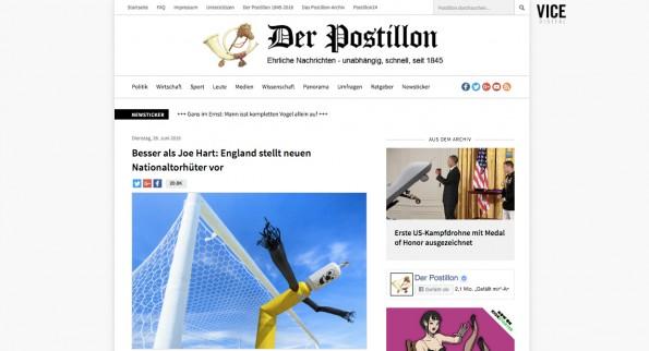 Der Postillon: ehrliche Nachrichten – unabhängig, schnell, seit 1845. (Screenshot: der-postillon.com)